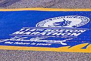 The starting line of the Boston Marathon (World's oldest annual), Hopkinton, Massachusetts