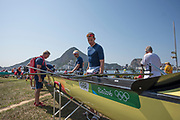 "Rio de Janeiro. BRAZIL.   GBR M8= withe Olympic Stickers, on show2016 Olympic Rowing Regatta. Lagoa Stadium,<br /> Copacabana,  ""Olympic Summer Games""<br /> Rodrigo de Freitas Lagoon, Lagoa. Local Time 15:43:30   Friday  05/08/2016 <br /> <br /> [Mandatory Credit; Peter SPURRIER/Intersport Images]"