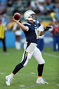 Los Angeles Chargers quarterback Kellen Clemens (10) throws a pass during the 2017 NFL week 1 preseason football game against the Seattle Seahawks, Sunday, Aug. 13, 2017 in Carson, Calif. The Seahawks won the game 48-17. (©Paul Anthony Spinelli)
