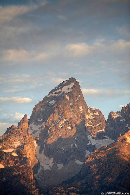 Sunset on the Grant Teton summit in Grand Teton National Park, Wyoming.