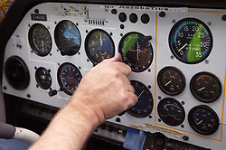 Close up of control panel in aircraft's cockpit,