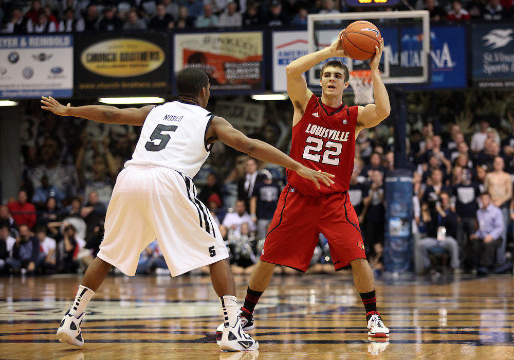 November 19, 2011: Louisville's Elisha Justice looks for open teammates against Butler at Hinkle Fieldhouse in Indianapolis, Ind.