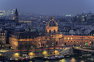 France. Paris. elevated view. the french institute and the Seine river. view from the belfry of 1st ardt city hall