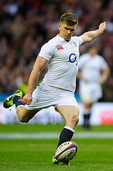 England Fly-Half (#10) Owen Farrell (Saracens) kicks a Penalty during the first half of the match - Photo mandatory by-line: Rogan Thomson/JMP - Tel: Mobile: 07966 386802 02/02/2013 - SPORT - RUGBY UNION - Twickenham Stadium - London. England v Scotland - 2013 RBS Six Nations Championship. The winner of this fixture is awarded the Calcutta Cup.