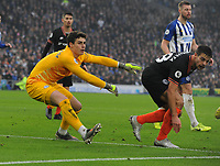 Football - 2019 / 2020 Premier League - Brighton & Hove Albion vs. Chelsea<br /> <br /> Kepa Arrizabalaga and Azpilicueta of Chelsea clear the danger, at The Amex.<br /> <br /> COLORSPORT/ANDREW COWIE