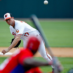 March 20, 2012; Sarasota, FL, USA; Baltimore Orioles starting pitcher Brian Matusz (17) throws against the Philadelphia Phillies during the top of the third inning of a spring training game against the Philadelphia Phillies at Ed Smith Stadium.  Mandatory Credit: Derick E. Hingle-US PRESSWIRE