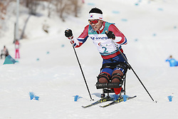 March 14, 2018 - Pyeongchang, GANGWON, SOUTH KOREA - March 14, 2018-Pyeongchang, South Korea- SIN Eui Hyun of South Korea action on the slope during an 2018 winter Paralympic Cross-Country Men's 1.1Km Sprint ,Sitting at Alpensia Biathlon Center in Pyeongchang, South Korea. (Credit Image: © Gmc via ZUMA Wire)
