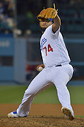 Los Angeles Dodgers relief pitcher Kenley Jansen #74 on the mound int he 9th inning. The Los Angeles Dodgers defeated the Cincinnati Reds 3- at Dodger Stadium in Los Angeles , CA.  May 25, 2016. (Photo by John McCoy/Southern California News Group