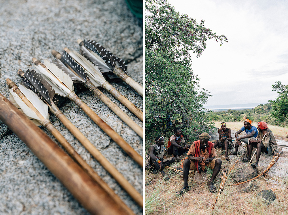 Hadza hunting arrows. Some arrows are poison tipped, produced by boiling the sap of the Desert Rose plant. Yaeda valley, Northern Tanzania. Photo by Greg Funnell, March 2016.