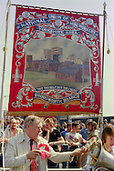 Brodsworth Branch NUM banner at the start of a march against anti trade union legislation. Sheffield 1980.