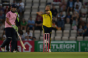 Gareth Berg of Hampshire bowling during the Vitality T20 Blast South Group match between Hampshire County Cricket Club and Middlesex County Cricket Club at the Ageas Bowl, Southampton, United Kingdom on 20 July 2018. Picture by Dave Vokes.