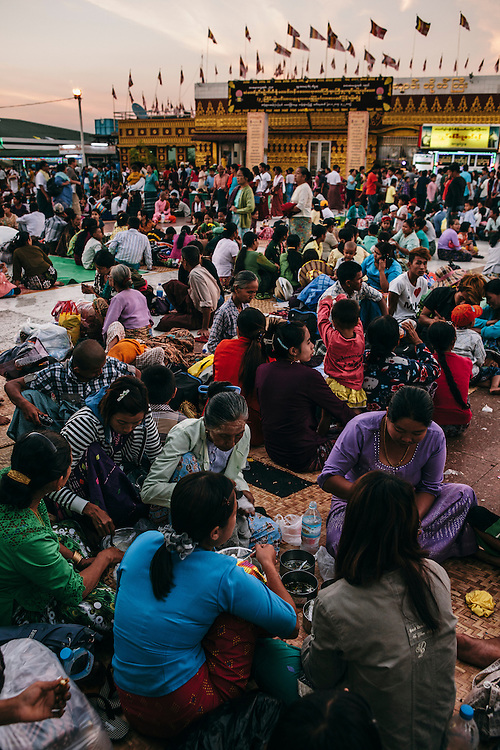 Devotees stay over night and picnic at Kyaiktiyo Pagoda (Golden rock)). Mon State, Myanmar