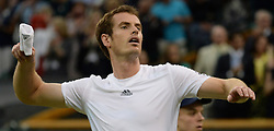 Wimbledon Tennis Championships.<br /> Andy Murray of Great Britain celebrates his win during the singles fourth round match with Spanish player Tommy Robredo at Centre Court on day 5 of The All England Lawn Tennis Club, Wimbledon, United Kingdom<br /> Friday, 28th June 2013<br /> Picture by Andrew Parsons / i-Images