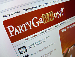 Detail of online backgammon website PartyGammon homepage screen shot