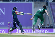 Joss Buttler of England finds the boundary off the bowling of  Shaheen Shah Afridi during the second Royal London One Day International match between England and Pakistan at the Ageas Bowl, Southampton, United Kingdom on 11 May 2019.