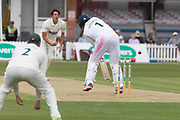 Billy Godleman is beaten by Chris Wright during the Specsavers County Champ Div 2 match between Leicestershire County Cricket Club and Derbyshire County Cricket Club at the Fischer County Ground, Grace Road, Leicester, United Kingdom on 28 May 2019.