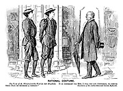 """Rational Costume. The Vicar of St Winifred-in-the-Wold (to fair bicyclists). """"It is customary for men, I will not say gentlemen, to remove their hats on entering a church!"""" Confusion of the Ladies Rota and Ixiona Bykewell."""