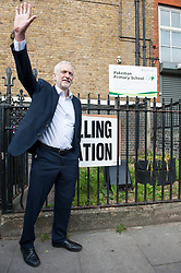 Jeremy Corbyn poses for the press and waves outside Pakeman Primay School, his local polling station after casting his vote in the EU elections..<br /> <br /> Richard Hancox | EEm 23052019