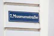 street sign on the facade of a building in Museumstrasse District 7, Vienna, Austria