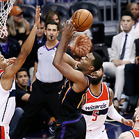 07 December 2017: Phoenix Suns forward TJ Warren (12) goes for the jump shot over Washington Wizards forward Otto Porter Jr. (22) during the Washington Wizards 109-99 victory over the Phoenix Suns, at the Talking Stick Resort Arena, Phoenix, Arizona, USA.