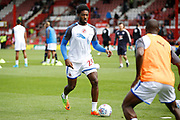 Reading Defender Tyler Blackett (24) warms up before kick off during the EFL Sky Bet Championship match between Brentford and Reading at Griffin Park, London, England on 16 September 2017. Photo by Andy Walter.