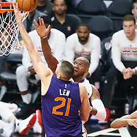 31 October 2016: Phoenix Suns center Alex Len (21) goes for the layup against Los Angeles Clippers center Marreese Speights (5) during the Los Angeles Clippers 116-98 victory over the Phoenix Suns, at the Staples Center, Los Angeles, California, USA.