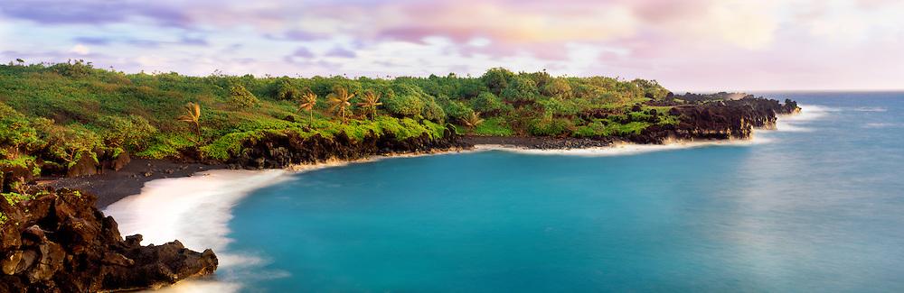0861-1002 ~ Copyright:  George H. H. Huey ~ Black sand beach and lava at Waianapanapa State Park at sunrise.  Maui, Hawaii.