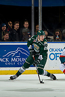 KELOWNA, BC - JANUARY 09:  Conrad Mitchell #28 of the Everett Silvertips pivots with the puck against the Kelowna Rockets at Prospera Place on January 9, 2019 in Kelowna, Canada. (Photo by Marissa Baecker/Getty Images)
