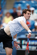 CINCINNATI, OH - AUGUST 22: Andy Murray of Great Britain serves to Roger Federer of Switzerland during day six of the Western & Southern Financial Group Masters on August 22, 2009 at the Lindner Family Tennis Center in Cincinnati, Ohio. Federer defeated Murray 6-2, 7-6. (Photo by Joe Robbins)