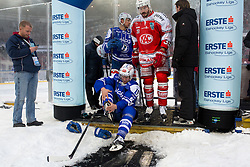 03.01.2015, Klagenfurter Wörthersee Stadion, Klagenfurt, AUT, EBEL, EC KAC vs EC VSV, 35. Runde, in picture  Stefan Bacher (EC VSV, #19), Mark Santorelli (EC VSV, #11) and Jean-Francois Jaques (EC KAC, #39) during the Erste Bank Icehockey League 35. Round between EC KAC and EC VSV at the Klagenfurter Wörthersee Stadion, Klagenfurt, Austria on 2015/01/03. Photo by Matic Klansek Velej / Sportida