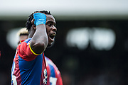 Jeffrey Schlupp (15) of Crystal Palace, celebrates after scoring goal f Crystal Palace,  during the Premier League match between Fulham and Crystal Palace at Craven Cottage, London, England on 11 August 2018.