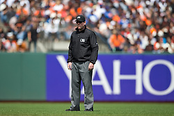 SAN FRANCISCO, CA - MAY 21: MLB umpire Chris Conroy #98 stands on the field during the seventh inning between the San Francisco Giants and the Los Angeles Dodgers at AT&T Park on May 21, 2015 in San Francisco, California.  The San Francisco Giants defeated the Los Angeles Dodgers 4-0. (Photo by Jason O. Watson/Getty Images) *** Local Caption *** Chris Conroy