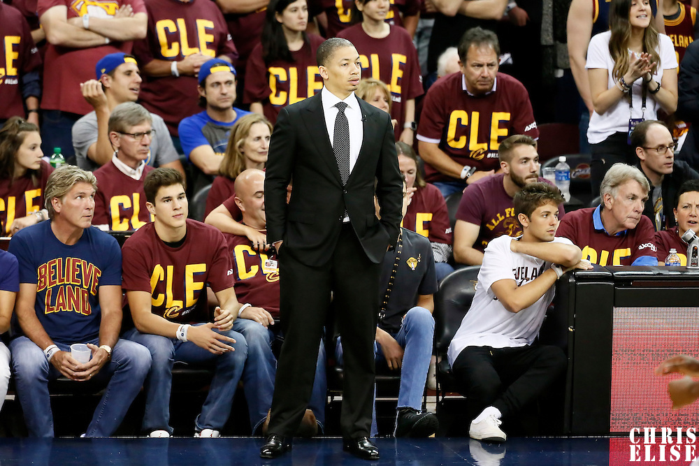 10 June 2016: Cleveland Cavaliers head coach Tyronn Lue is seen during the Golden State Warriors 108-97 victory over the Cleveland Cavaliers, during Game Four of the 2016 NBA Finals at the Quicken Loans Arena, Cleveland, Ohio, USA.