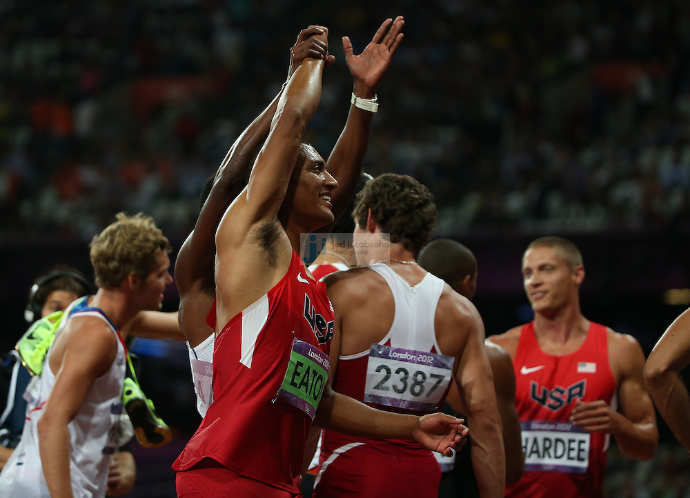 Ashton Eaton of the USA celebrates after the 1500m portion of the decathlon to win the gold medal during track and field at the Olympic Stadium during day 13 of the London Olympic Games in London, England, United Kingdom on August 9, 2012..(Jed Jacobsohn/for The New York Times)..