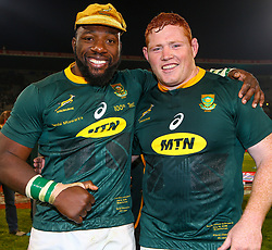Tendai Mtawarira of South Africa on his 100th cap with Steven Kitshoff of South Africa - Mandatory by-line: Steve Haag/JMP - 16/06/2018 - RUGBY - Toyota Stadium - Bloemfontein, South Africa - South Africa v England Second Test, South Africa Tour