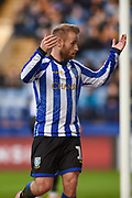 Sheffield Wednesday vice captain Barry Bannan asks the crowd to get up and cheer louder for the team during the EFL Sky Bet Championship match between Sheffield Wednesday and Bristol City at Hillsborough, Sheffield, England on 22 December 2019.
