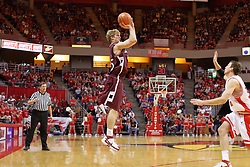 05 January 2008:  Levi Dyer sprints, but can't get to an unprotected Carlton Fay who is attempting a 3 point shot. The Redbirds of Illinois State took the bite out of the Salukis of Southern Illinois winning the Conference home opener for the 'birds on Doug Collins Court in Redbird Arena in Normal Illinois by a score of 56-47.