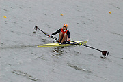 "Seville. SPAIN, 17.02.2007, NED LM1X Gerard van der LINDEN, clears the ""Puente de la Barqueta"" [bridge] during Saturdays heats, of the FISA Team Cup, held on the River Guadalquiver course. [Photo Peter Spurrier/Intersport Images]    [Mandatory Credit, Peter Spurier/ Intersport Images]. , Rowing Course: Rio Guadalquiver Rowing Course, Seville, SPAIN,"