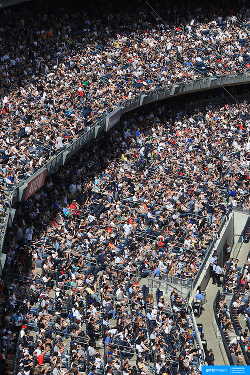 A packed stadium during the New York Yankees V Los Angeles Angels Baseball game at Yankee Stadium, The Bronx, New York. 15th March 2012. Photo Tim Clayton