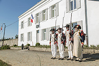 Belgium, Vieux-Genappe near Waterloo on 4th of June 2015. Official reopening of this former  farm, now a museum  where Emperor Napoleon and his staff spent the night of 17th June 1815. The last night before the battle of Waterloo.re-enactors pose in front of the farm