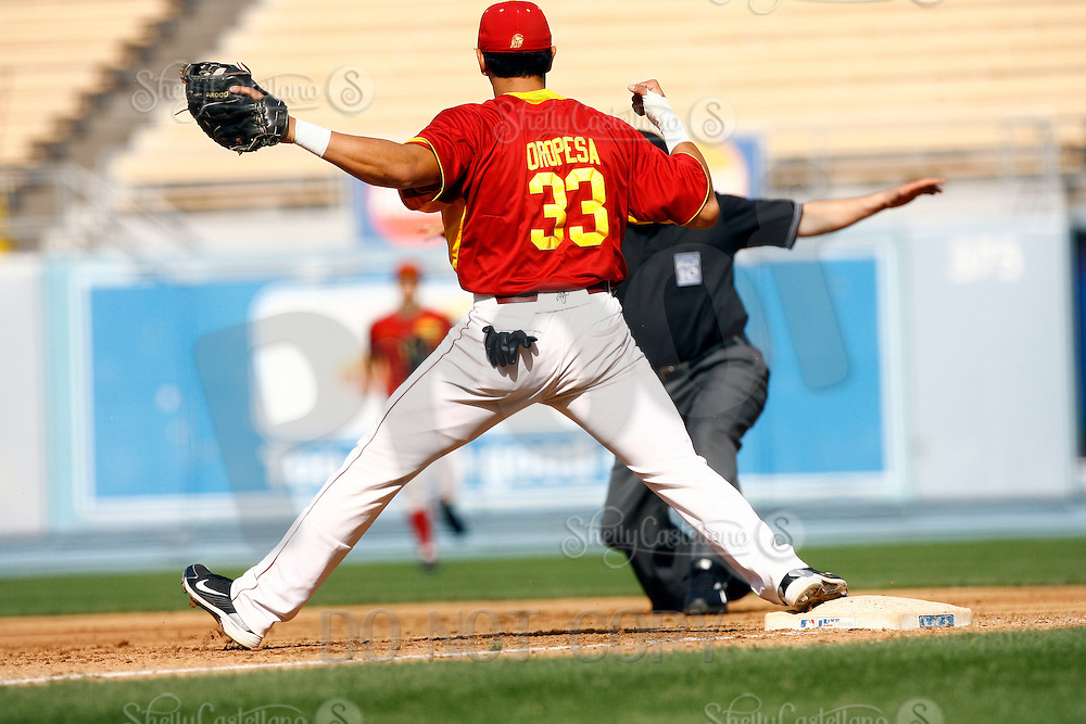 28 February 2010:  #33 first baseman Ricky Oropesa of the USC Trojans Baseball team during the first annual Dodgertown Classic at Dodger Stadium at Chavez Ravine. A college baseball round robin tournament sponsored by the MLB Los Angeles Dodgers. 14,588 were in attendance to watch the UCLA Bruins defeat the USC Trojans 6-1 on a sunny afternoon in Southern California.