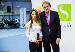 lara Vovk and Marko Umberger, president of TZS at Tennis exhibition day and Slovenian Tennis personality of the year 2013 annual awards presented by Slovene Tennis Association TZS, on December 21, 2013 in BTC City, TC Millenium, Ljubljana, Slovenia.  Photo by Vid Ponikvar / Sportida