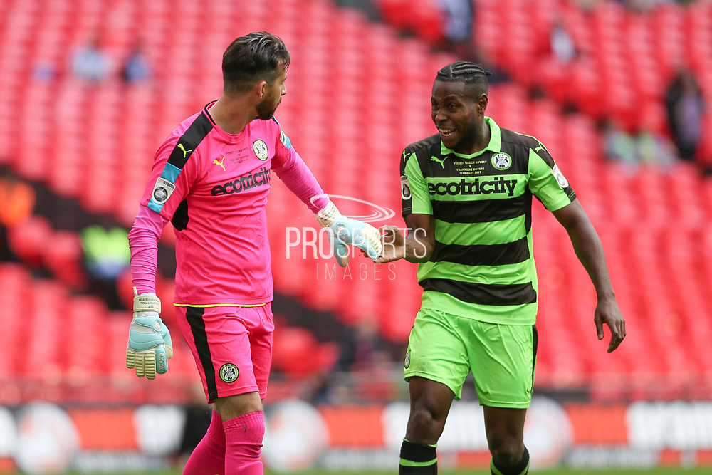 Forest Green Rovers goalkeeper Sam Russell(23) and Forest Green Rovers Dale Bennett(6) during the Vanarama National League Play Off Final match between Tranmere Rovers and Forest Green Rovers at Wembley Stadium, London, England on 14 May 2017. Photo by Shane Healey.