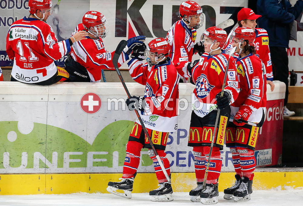Rapperswil-Jona Lakers forward Ramon Knellwolf (front from L), Lukas Schlaeppi and Yves Bader are celebrating a gaol with their teammates Pascal Blaser (back from left), Gian Andri Gegenschatz, Lars Mathis and Jeffrey Meier during an Elite A Ranking Round 9-13 ice hockey game between Rapperswil-Jona Lakers and EHC Biel-Bienne Spirit held at the Diners Club Arena in Rapperswil, Switzerland, Sunday, Feb. 28, 2016. (Photo by Patrick B. Kraemer / MAGICPBK)