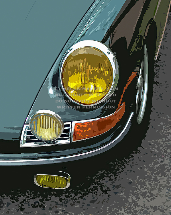 Image of a green 1967 Porsche 911 headlight detail, Portland, Oregon, Pacific Northwest