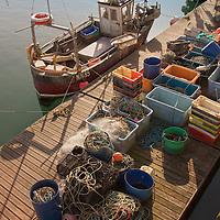 Small fishing boat moored in Brighton marina