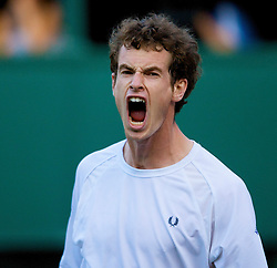 LONDON, ENGLAND - Monday, June 30, 2008: Andy Murray (GBR) celebrates winning the third set tie break during his men's singles fourth round match on day seven of the Wimbledon Lawn Tennis Championships at the All England Lawn Tennis and Croquet Club. (Photo by David Rawcliffe/Propaganda)