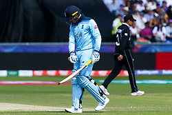 Jason Roy of England cuts a angry figure after getting out to James Neesham of New Zealand for 60 - Mandatory by-line: Robbie Stephenson/JMP - 03/07/2019 - CRICKET - Emirates Riverside - Chester-le-Street, England - England v New Zealand - ICC Cricket World Cup 2019 - Group Stage