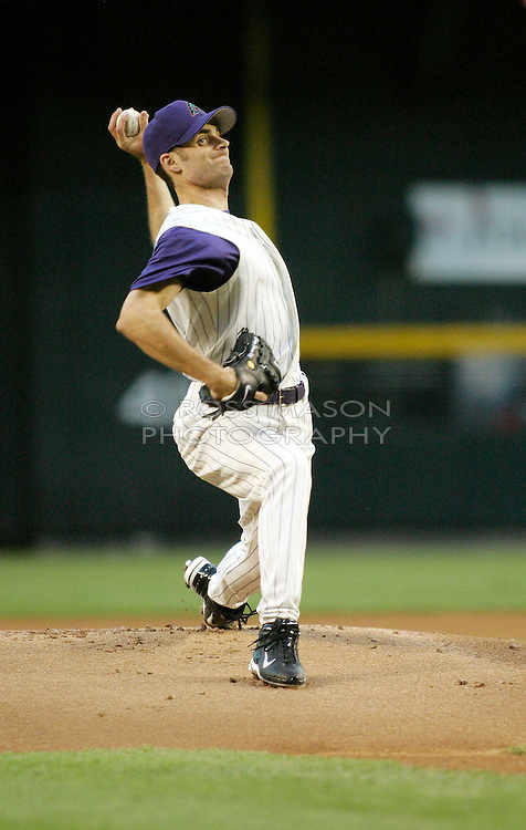 Phoenix, AZ 06-04-04 Casey Fossum pitches in a 7-3 loss to the L.A.Dodgers. Fossum pitched 4 innings with 8 hits and 5 runs. The Dodgers won 7-3. Ross Mason photo