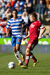 Derby Forward Jamie Ward (NIR) is challenged by Reading Forward Jordan Obita (ENG) - Photo mandatory by-line: Rogan Thompson/JMP - 07966 386802 - 15/09/2014 - SPORT - FOOTBALL - Madejski Stadium - Reading - Reading v Derby County - Sky Bet Football League Championship.